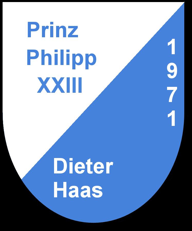 Prinz Philipp XXIII Dieter Haas und seine Pagen Ludmilla Fieser und Monika Börzel