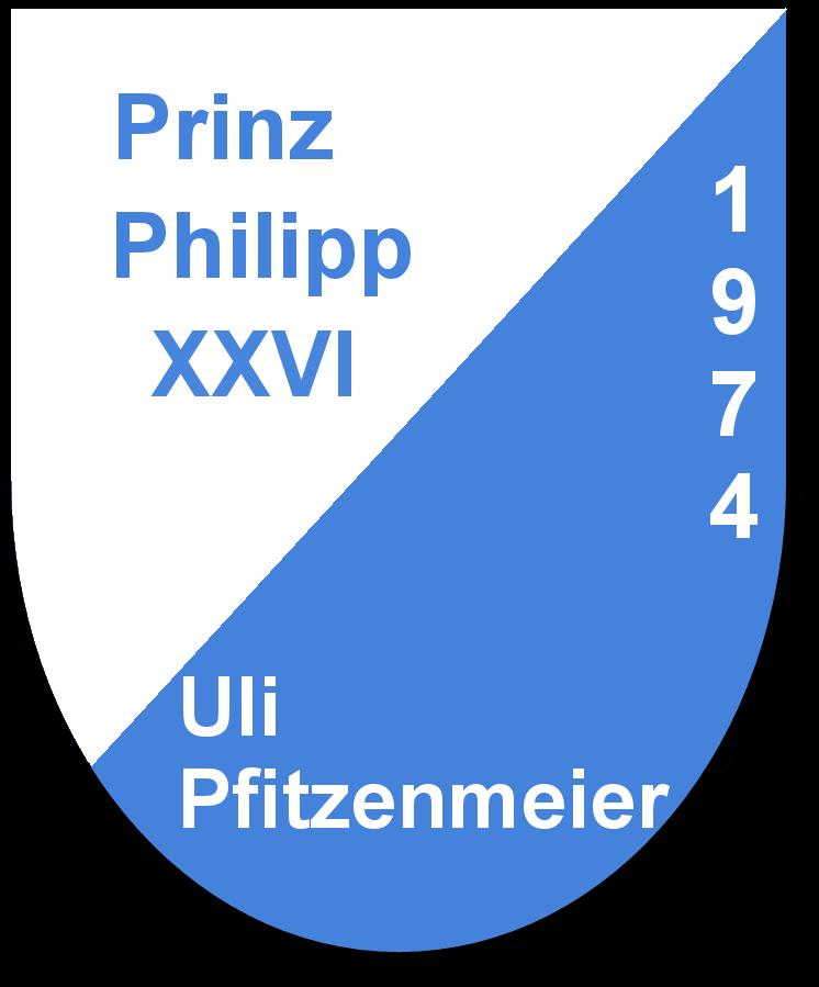 Prinz Philipp XXVI Uli Pfitzenmeier und seine Pagen Hannelore Gilliar und Karin Kirschner