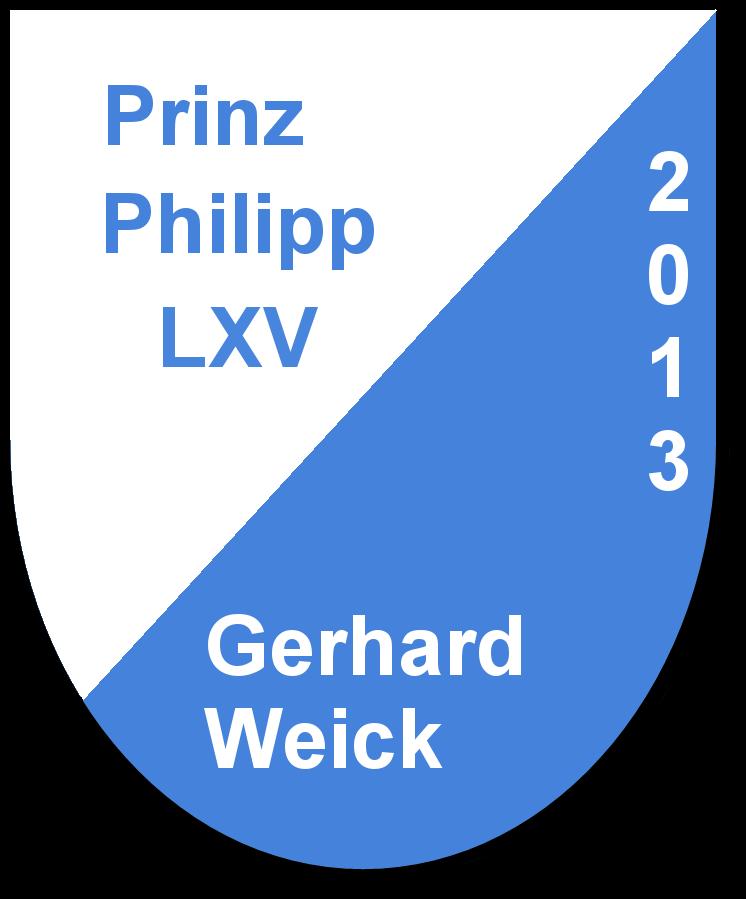 Prinz Philipp LXV Gerhard Weick und seine Pagen Eliana Brecht und Rebecca Renkert